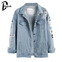 Light Blue Letter Patch Ripped Pockets Single Breasted Denim Coat Women Casual Summer Jacket  Wear