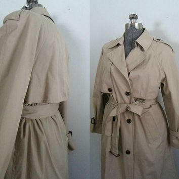 Womens Khaki Belted Trenchcoat Vintage Etienne Aigner Size 12