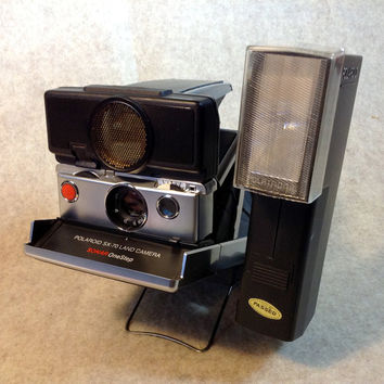 Polaroid Polaroid SONAR One Step SX-70 Land Camera - PLUS - Polatronic Flash #2350 includes Base Bracket and Manuals