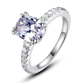 Sterling Silver Oval Cubic Zirconia Engagement Ring