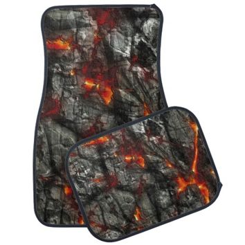 Red fire, black stone fantastic abstract texture car floor mat