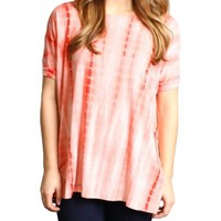Orange Tie Dye Piko Short Sleeve Top