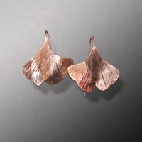 Textured Copper Hook Ginkgo Leaf Earrings | bentwrappedandhammered - Jewelry on ArtFire