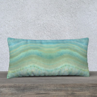 "Turquoise Blue Agate Geode Pattern 24"" x 12"" pillow"