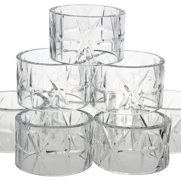 Cut-Crystal Napkin Rings, S/8