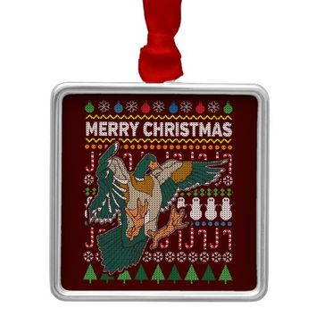 Duck Ugly Christmas Sweater Wildlife Series Metal Ornament