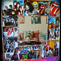 Rolling Stones Wall Mirror -  rock and roll decoupage decor - keith richards -mick jagger