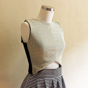Crop Top in Stretch Metallic Gold and Black Velvet / Festival Style / Gifts for Her / Sleeveless Top - Size Extra Small - by Katie Gariepy