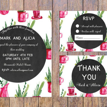 Cactus Pink and Green Wedding Invitation Set, Printable Wedding Invitation Suite,  Glamorous Wedding Invitation, Chic Wedding, modern Invite