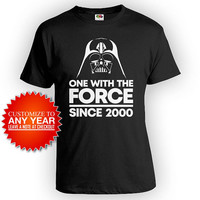 Custom Birthday T Shirt 18th Birthday Gift Ideas For Him Personalized Bday Present One With The Force Since 2000 Birthday Mens Tee - BG559