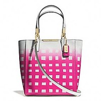 MADISON MINI NORTH/SOUTH TOTE IN GINGHAM SAFFIANO LEATHER