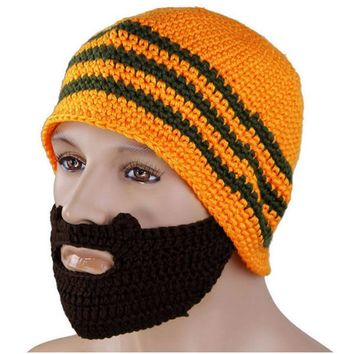 1Pc Unisex Winter Knit Crochet Beard Beanie Mustache Mask Face Warm Hat Cap