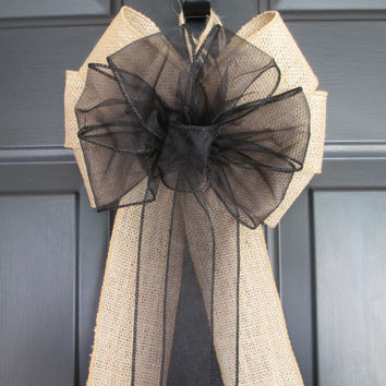 Sheer Black over Natural Burlap Bow, Rustic Shabby Chic Wedding, Church Pew Aisle, Party Bridal, Halloween Fall Autumn