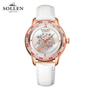 reloj mujer Dandelion new SOLLEN watches ladies automatic mechanical women watches really leather fashion trend waterproof