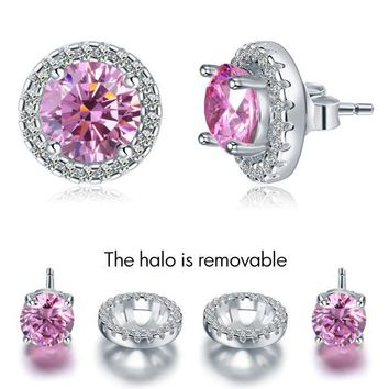 2.5 Carat Round Pink Halo (Removable) Stud 925 Sterling Silver Earrings Jewelry