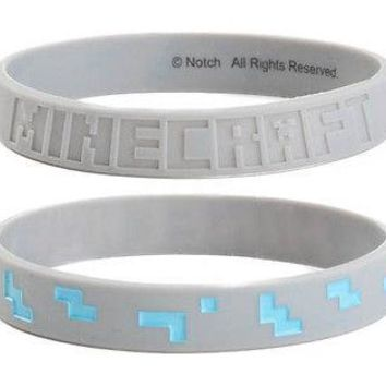Minecraft Grey Diamond rubber Bracelet Wristband Official Licensed Large Size L