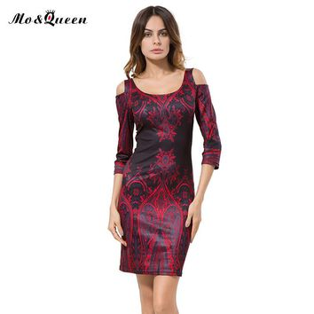 Tribal Print Casual Dresses Bodycon Cut Out Off Shoulder Dress Women 2016 New Arrival Elegant Vestidos Long Sleeve Autumn Dress