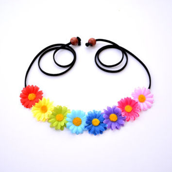 Rainbow Festival Crown Rave Halo Flower Headpiece Floral Halo Flower Crown Hippie Headwrap Rainbow Crown Colorful Halo Bohemian Headpiece