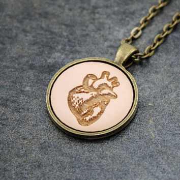 Anatomical Heart Pendant - Laser Engraved Wood (Pale Pink)