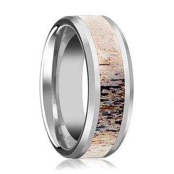 Tungsten Ombre Deer Antler Inlay - Tungsten Wedding Band - Beveled - Polished Finish - 8mm - Tungsten Wedding Ring