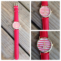 Red Striped and Gold Anchor Leather Band Watch