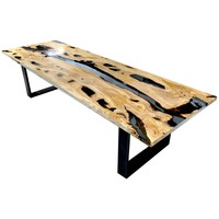 Calabra Olive Tree Dinning Table with Blue Transparent Resin