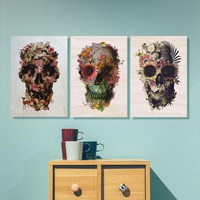 Flower Skull Set Of 3 Wood Print, Cool 3 Set Wood Wall Art,Sugar Skull Panels