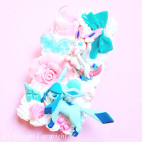 Custom Kawaii Pokemon Sylveon flareon glaceon umbreon eevee evolution Decoden Phonecase for Iphone 4/4s 5, Samsung Galaxy S2 S3 S4, HTC