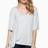 ShopSosie Style : Cozy Short Sleeve Double V Neck Tee in Gray By Piko