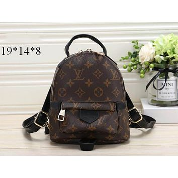 LV tide brand female classic old chess board retro casual sports backpack Coffee print