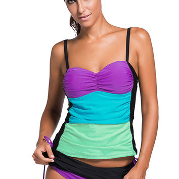 Purple Colorblock Bandeau Tankini Black Skort Set LAVELIQ