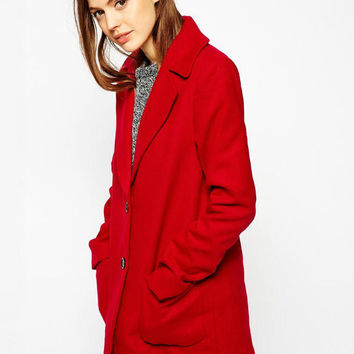 Long Sleeve Double Pocket Single-Breasted Woolen Coat