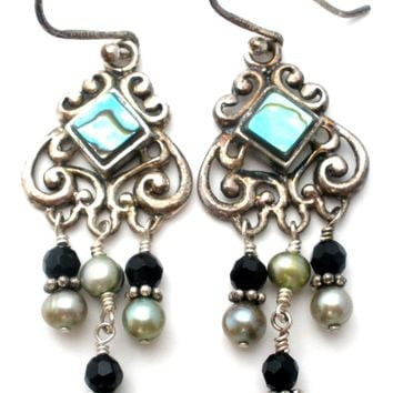 Abalone Shell & Pearl Earrings Sterling Silver
