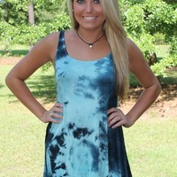 Bangles Boutique — SHADES OF BLUE TIE DYE TANK TOP WITH ASYMMETRICAL HEM
