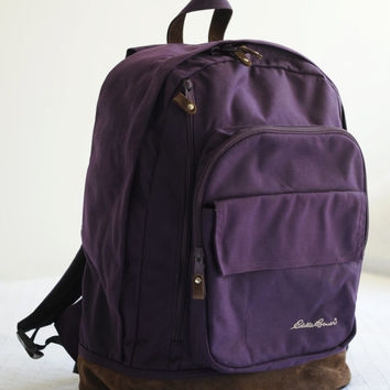 Vintage Eddie Bauer Purple Canvas Backpack with Leather Bottom
