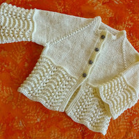Baby Sweater, Knit Baby Cardigan, Off White Jumper, Cream Baby Sweater, 6-12 Months Sweater, Feather and Fan Design Sweater