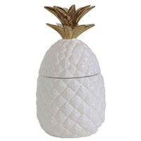Ceramic Pineapple Shaped Jar - White/Gold - 3R Studios