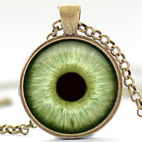 Pale Green Eye Necklace, Third Eye Jewelry, Evil Eye Charm, Green Eyeball Pendant (927)