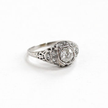 Antique 18k White Gold Art Deco 1/2 Carat Diamond Ring - 1920s 1930s Vintage Intricate Filigree Fine Engagement Bridal .70 CTW Jewelry