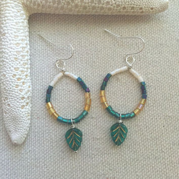 Green Fall Earrings - Fall Leaf Earrings - Green Chandelier Earrings - Bohemian Hoop Earrings - Lightweight Hoop Earrings - Beaded Hoops
