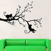 Wall Sticker Vinyl Decal Monkey Tree Animal Jungle Woodland Kids Child Unique Gift (ig2291)