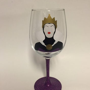 Evil Queen inspired by Disney's Snow White glass, wine, stemless, or Tumbler with Straw