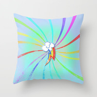 my grunge little pony.. rainbow dash Throw Pillow by studiomarshallarts