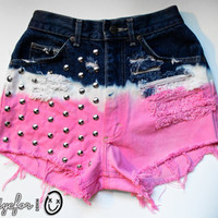 dark blue, white and bubblegum pink ombre / Lee vintage denim / conical studs & destroyed / high waisted shorts