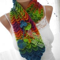 Crochet Crocodile Rainbow Scarf / Chunky Neck Warmer / Neck Lace / Fall Winter Fashion
