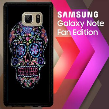 Sugar Skull Crow Honey Bird Flower V1723 Samsung Galaxy Note FE Fan Edition Case