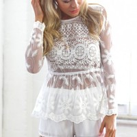 ARIANA TOP - white mesh and lace top