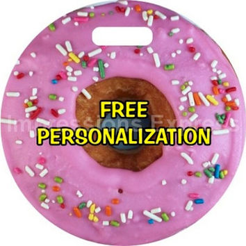 Pink Doughnut Personalized Luggage Tote Bag Tag