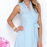 Sartorial Splendor Light Blue Wrap Dress