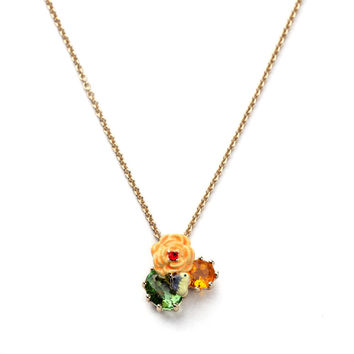 Butterfly Flower Pendant Necklace
